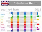 2015 English Planner Calendar with Horizontal Months