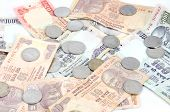 stock photo of indian currency  - Indoor shoot Indian currency Rupees and coins - JPG