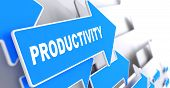 foto of production  - Productivity on Blue Arrow on Gray Background - JPG