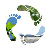 stock photo of footprint  - Footprint recycle sign  - JPG