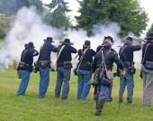 Union Infantry Line Firing A Volley.