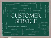 pic of rep  - Customer Service Word Cloud Concept on a Blackboard with great terms such as call center help staff rep and more - JPG