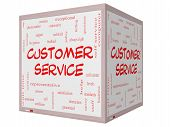 stock photo of rep  - Customer Service Word Cloud Concept on a 3D cube Whiteboard with great terms such as call center help staff rep and more - JPG