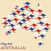 pic of kangaroo  - Australian Map Made From Kangaroos In Vector Format - JPG