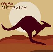 image of kangaroo  - Kangaroo At Sunset Greeting Card In Vector Format - JPG