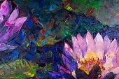 image of lillies  - Oil painting of beautiful lotus flower - JPG