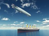 Ocean Liner and Airship