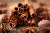 image of cinnamon sticks  - spices cinnamon anise nutmeg rock sugar - JPG