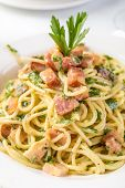 stock photo of carbonara  - Classic Italian Cuisine Spaghetti Carbonara - JPG