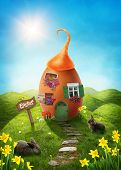 picture of bird egg  - Spring easter meadow with egg house - JPG