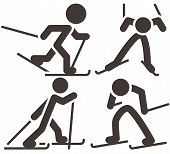image of nordic skiing  - The winter sport icons  - JPG