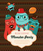 pic of freaky  - Monster Retro Party Invitation Card Design - JPG