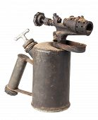 foto of blow torch  - Vintage old blowtorch isolated on white background - JPG
