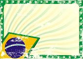 stock photo of brazilian carnival  - detailed grungy background illustration with stars border and brazilian flag elements - JPG