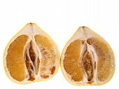 stock photo of pomelo  - Two halves of pomelo fruit isolated on white background - JPG