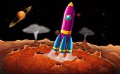 pic of outerspace  - Illustration of a rocket and planets at the outerspace - JPG