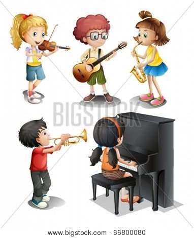 Illustration of the kids with musical talents on a white background