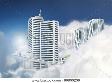 Traveling by taxi in the clouds, vector background
