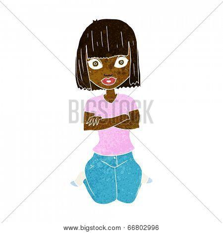 cartoon woman kneeling