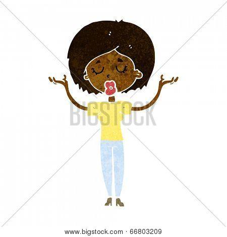 cartoon peaceful woman