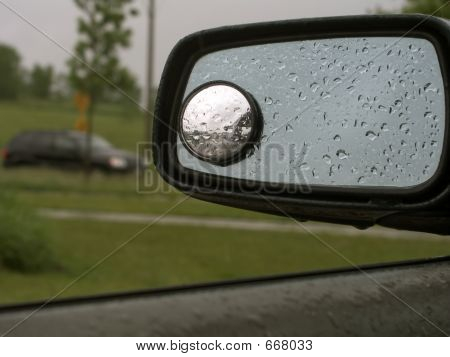 Car Mirror With Raindrops 19