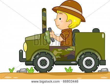 Illustration of a Boy in a Safari Outfit Driving a Camouflage Jeep