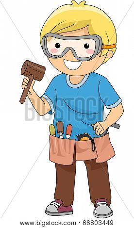 Illustration of a Boy Carrying Wood Carving Materials