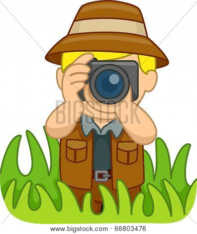 Illustration of a Boy in a Safari Outfit Holding a Camera