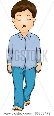 Illustration of a Boy Sleepwalking