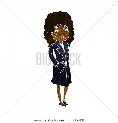cartoon woman in trench coat