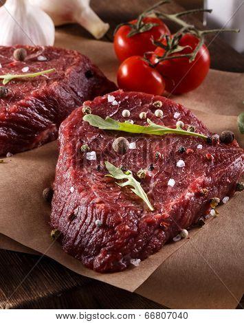 Succulent tender raw lean beef steaks