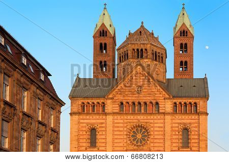 Speyer Cathedral with blue skies, Germany