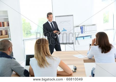 Business people attending weekly presentation