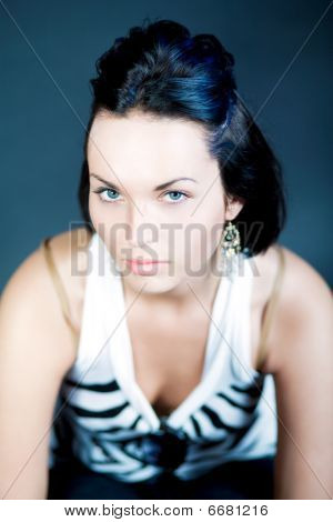 sexy dark hair caucasian slavic girl looking up isolated