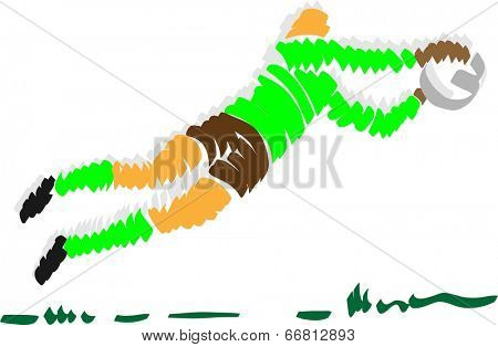 vector - abstract design soccer goal keeper - isolated on background