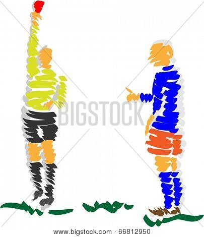 vector - abstract design soccer referee  - isolated on background
