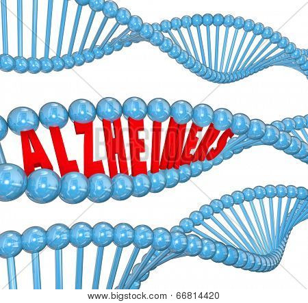 Alzheimer's disease 3d letters in a strand of dna to illustrate medical research