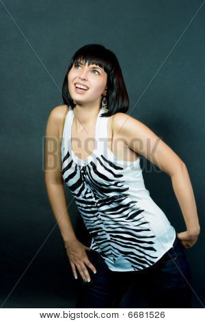 excited and surprised caucasian girl isolated