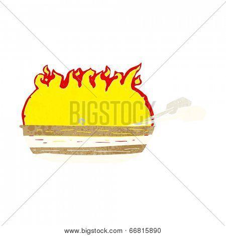 cartoon burning boat