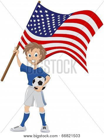 Happy soccer fan holds USA flag