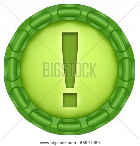 Exclamation Mark. Abstract Green Label Isolated On White Background.