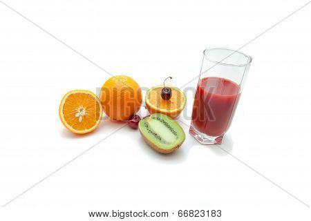 Tropical fruits and juice