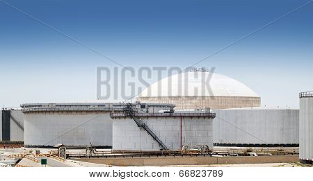 Group Of Large Fuel Tanks. Ras Tanura Oil Terminal, Saudi Arabia
