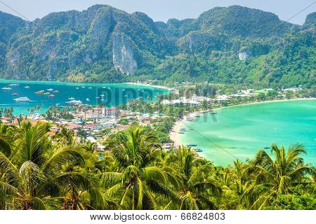 View from the highest viewpoint of Koh Phi-Phi Don island, Thailand