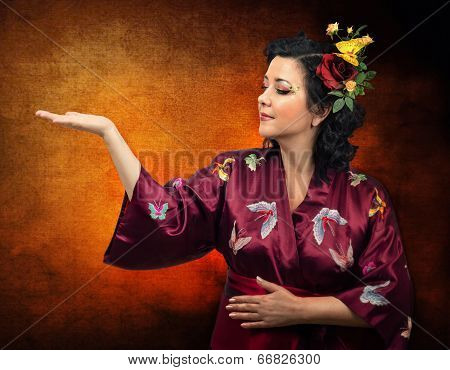 Kimono Caucasian Woman Extending Her Right Arm