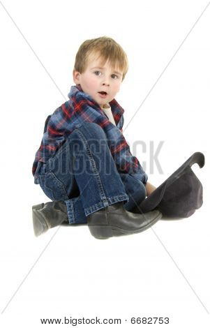 Cowboy kid taking a break