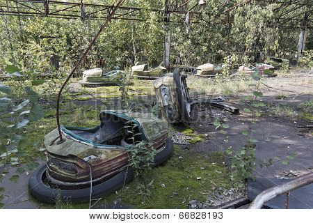 Playground in Pripyat - abandoned city near Chernobyl nuclear reactor. Whole city was abandoned after nuclear disaster on 26.04.1986