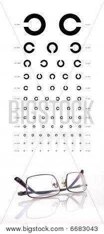 Chart and eyeglasses