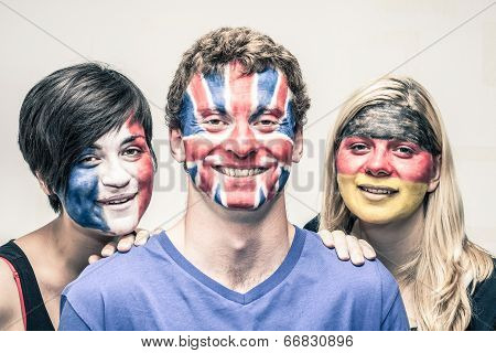 Happy People With European Flags On Faces