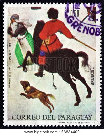 Postage Stamp Paraguay 1968 Winter Scene, By Pieter Brueghel The